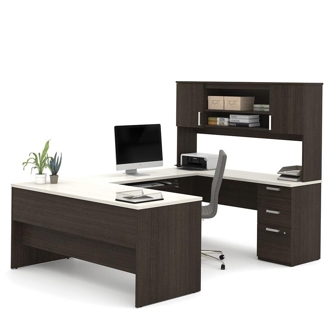 """Bestar® Ridgeley 50"""" U-shaped Desk, Dark Chocolate/White Chocolate  (50-50)"""