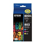 Epson 802 DURABrite Ultra Ink Cartridge, High Yield Black and Standard Yield Colors, Multipack CMYK