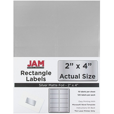 JAM Paper® Mailing Address Labels, 2 x 4, Silver Metallic, 120/pack (40732539)