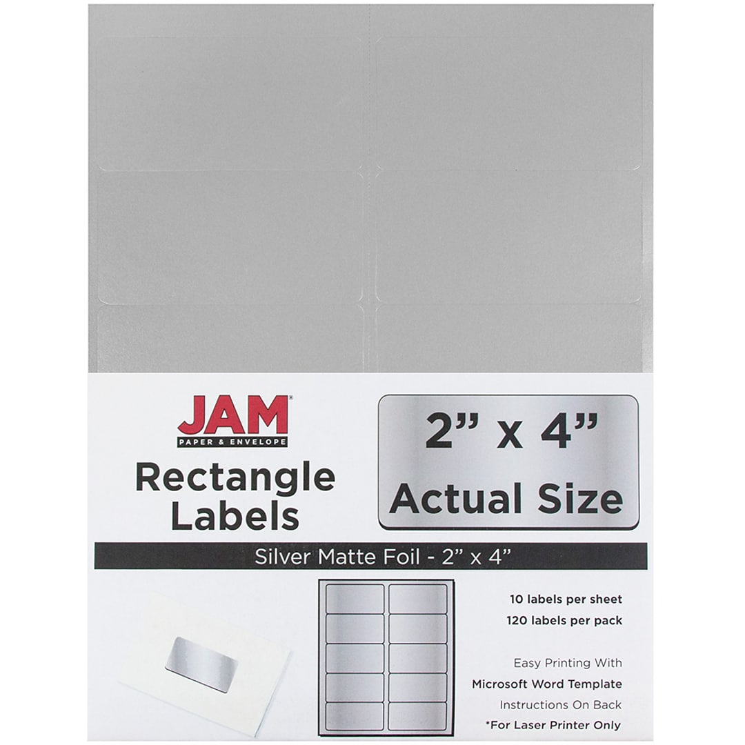 JAM Paper® Mailing Address Labels, 2 x 4, Silver Metallic, 120/pack ...