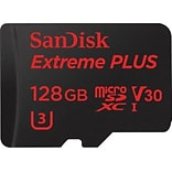 SanDisk® Extreme Plus Class 10/UHS-I microSDXC Memory Card, 128GB (SDSQXWG-128G-ANCMA)