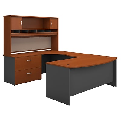 Bush West 72W BowFrnt LH U-Station w/2-Door Hutch & Lateral File; Autumn Chry/Graphite Gray, Install
