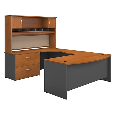 Bush West 72W BowFrnt LH U-Station w/2-Door Hutch & Lateral File; Nat Chry/Graphite Gray, Installed