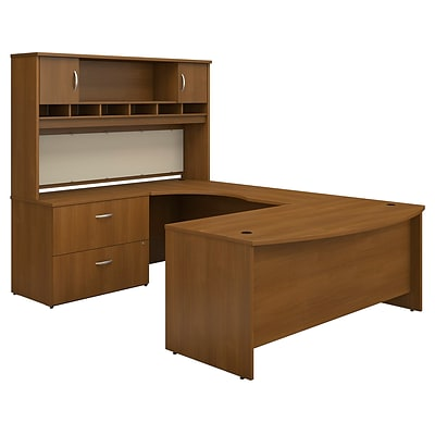 Bush Business Westfield 72W Bowfront LH U-Station w/2-Door Hutch & Lateral File; Cafe Oak, Installed