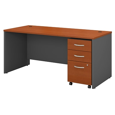 Bush Business Westfield 66W Shell Desk w/3-Dwr Mobile Pedestal; Autumn Chry/Graphite Gray, Installed