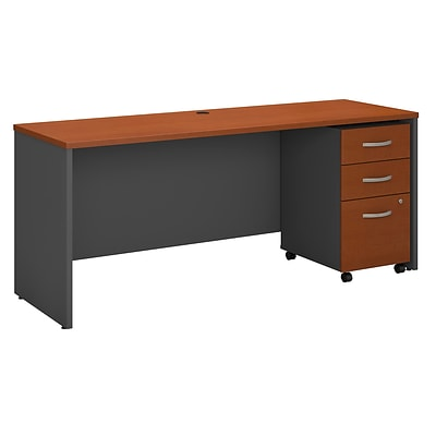 Bush Westfield 72W Shell Desk/Credenza w/3-Dwr Mobile Pedestal; Autumn Chry/Graphite Gray, Installed