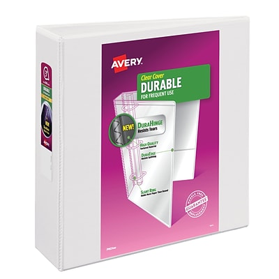 Avery® Durable View Binder with 3 Two Booster EZD™ Rings, White