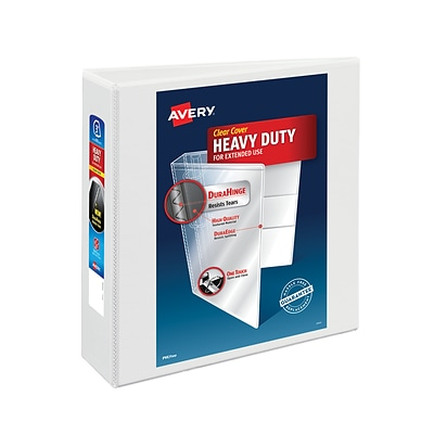 Avery® Heavy-Duty Nonstick View Binder with 3 Slant Rings, White
