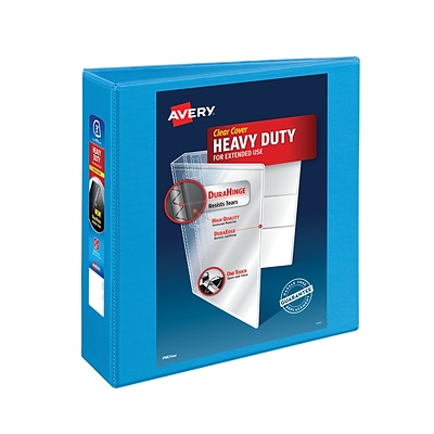Avery® Heavy-Duty Nonstick View Binder with 3 Slant Rings, Light Blue