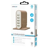 Pom Gear®  Charge2Go!™ Commander 5 Port Usb Charger; Tan