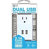Pom Gear®  Charge2Go!™ Dual USB Wall Plate Charger; 2 Usb/1 Plug, White