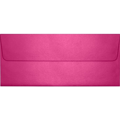 LUX® 80lbs. 4 1/8 x 9 1/2 #10 Square Flap Envelopes W/Glue, Azalea Metallic Pink, 250/BX