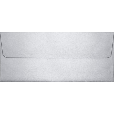 LUX® 4 1/8 x 9 1/2 #10 80lbs. Square Flap Envelopes, Silver Metallic, 50/Pack