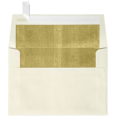 LUX A4 Foil Lined Invitation Envelopes (4 1/4 x 6 1/4) 250/Box, Natural w/Gold LUX Lining (FLNT4872-04-250)
