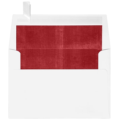 LUX A4 Foil Lined Invitation Envelopes (4 1/4 x 6 1/4) 50/Box, White w/Red LUX Lining (FLWH4872-01-50)