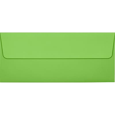 LUX® 80lbs. 4 1/8 x 9 1/2 #10 Smooth Square Flap Envelopes, Limelight Green, 1000/BX