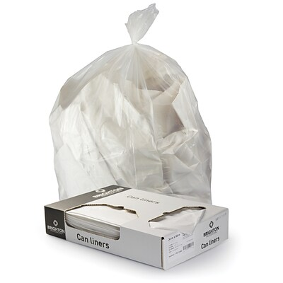 Brighton Professional 24x32 10-13 Gallon Trash Bags, Linear Low Density, Medium Gauge, 250 Bags/Box, Clear Color
