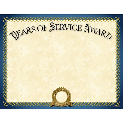 Great Papers® Years of Service Certificate, 11 x 8.5, 20/Pack (2015113)