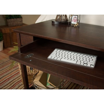 Bush Furniture Buena Vista Writing Desk with Set of (2) 2-Door Tall Library Storage, Madison Cherry