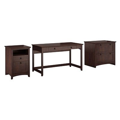 Bush Furniture Buena Vista Writing Desk w/ 2-Drawer Lateral File & 2-Drawer Pedestal, Madison Cherry