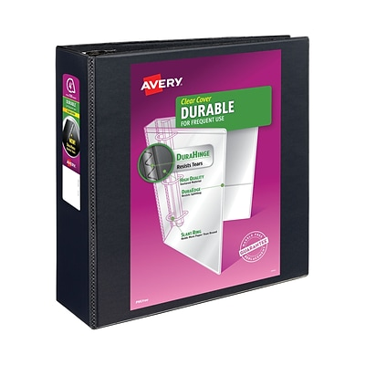 Avery® Durable View Binder with 4 Two Booster EZD® Rings, Black