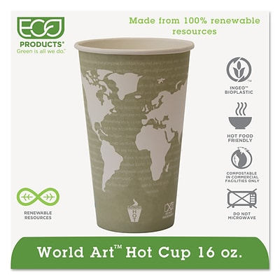 Eco-Products® World Art™ Hot Cups, 16oz., 1,000/Case