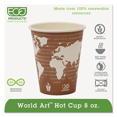 Eco-Products® World Art™ Hot Cups, 8oz., 1,000/Case