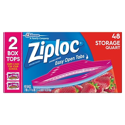 Ziploc® 1 Quart Double Zipper Storage Bags 48/BX