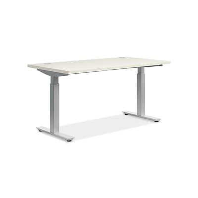 basyx by HON 60H Adj Table, 2 Stage Columns, Brilliant White Worksurface Finish, Silver Base Finish (BSXHAT3060W) NEXT2017