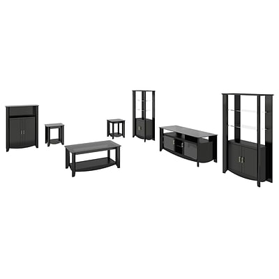 Bush Furniture Aero 46 TV Stand w/Storage, Med Storage, Coffee Table & End Tables, Classic Black