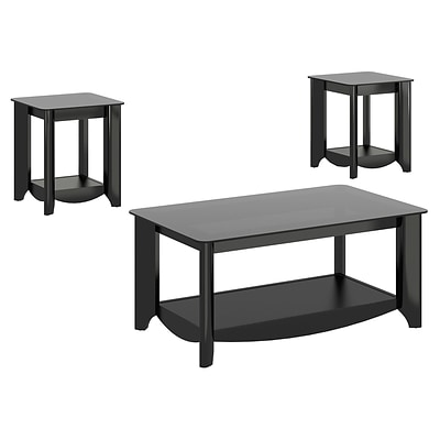 Bush Furniture Aero Coffee Table and set of (2) End Tables, Classic Black