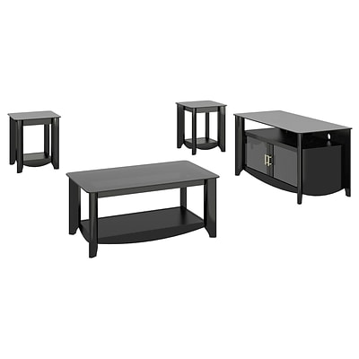 Bush Furniture Aero TV Stand (up to 50 inch) w/ Coffee Table & Set of (2) End Tables, Classic Black