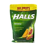 Halls Defense Vitamin C Drops, Assorted Citrus, 180 Count (63397)