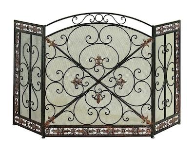 Cole & Grey 3 Panel Metal Fireplace