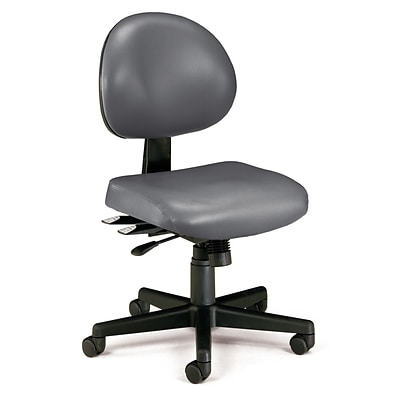 OFM 24 Hour Intensive Use Task Chair, Armless, Charcoal Gray, Anti-Microbial Anti-Bacterial Vinyl
