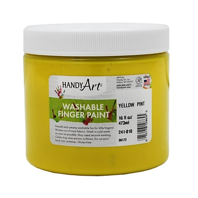Handy Art Washable Finger Paint, Yellow, 16 oz (RPC241010)