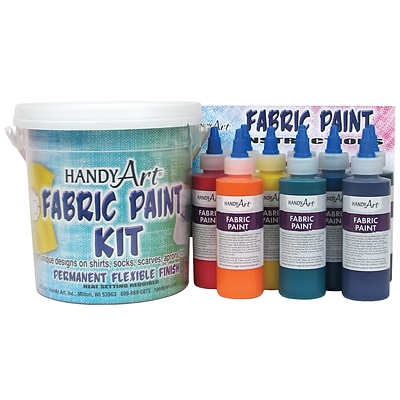Handy Art Fabric Paint, Bucket Kit, 9 - 4oz bottles