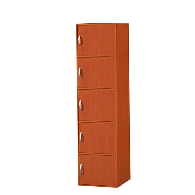 Hodedah HID5 5-Door Wood Storage Cabinets, Cherry