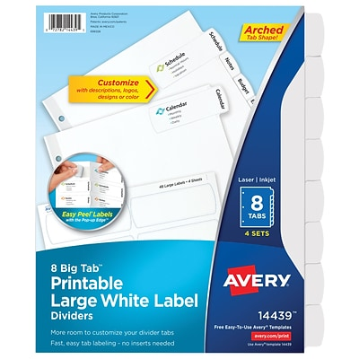 Avery® Big Tab Printable Large White Label Dividers with Easy Peel 14439, 8 Tabs, 4 Sets