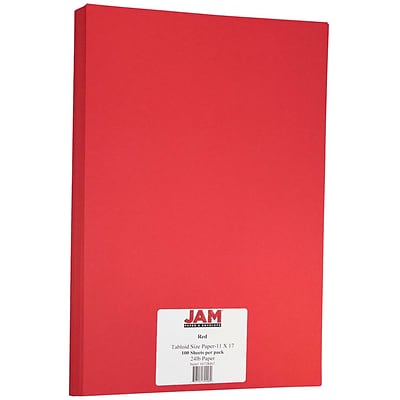JAM Paper® Matte Tabloid Paper - 11 x 17 - Red - 100/pack