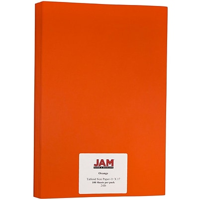JAM Paper® Matte Tabloid Paper - 11 x 17 - Orange - 100/pack
