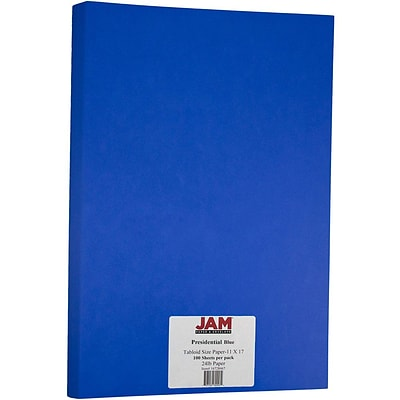 JAM Paper® Matte Tabloid Paper - 11 x 17 - Presidential Blue - 100/pack