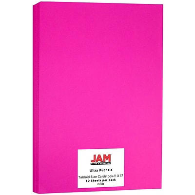 JAM Paper® Bright Color Tabloid Cardstock, 11 x 17, 65lb Ultra Fuchsia Pink, 50/pack (16728494)