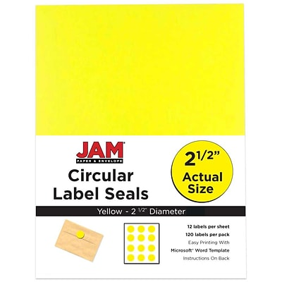 JAM Paper® Round Circle Label Sticker Seals, 2.5 inch diameter, Yellow, 120/pack (147628582)