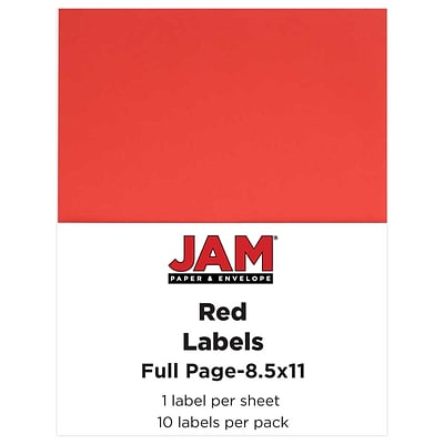 JAM Paper® Full Page Labels, 8.5 x 11 Sticker Paper, Red, 10/pack (337628603)