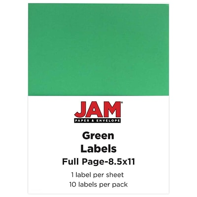 JAM Paper® Full Page Labels, 8.5 x 11 Sticker Paper, Green, 10/pack (337628607)