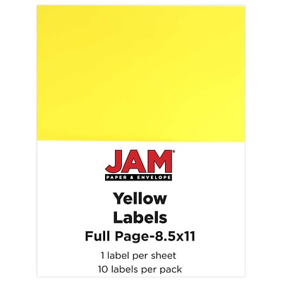 JAM Paper® Full Page Labels, 8.5 x 11 Sticker Paper, Yellow, 10/pack (337628610)