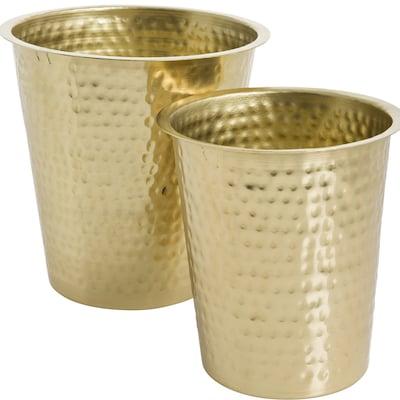 Eightmood Essentials 2 Piece Stainless Steel Pot Planter Set; Antique Brass
