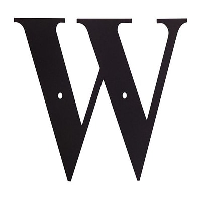 Village Wrought Iron LET-W House Plaque Letter W; Black (VW1169)