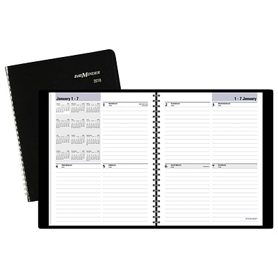 2018 AT-A-GLANCE® DayMinder® Block-Style Weekly Planner, 6-7/8 x 8-3/4, Black (G535-00-18)